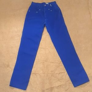 Vintage Size 8 High Waisted Rockies 90s bright blue jeans